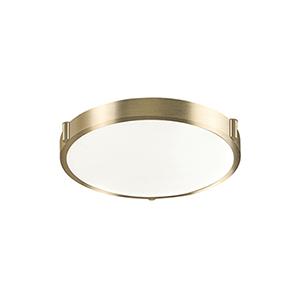 Vintage Brass 13-Inch One-Light Flush Mount