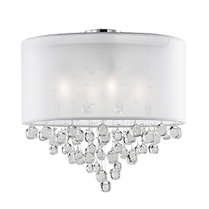 Chrome 20-Inch Four-Light Semi-Flush Mount with White Shade