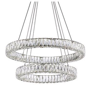 Chrome 120-Inch LED Two-Tier Chandelier