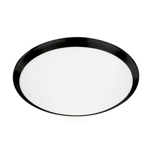 Black 15-Inch One-Light LED Flush Mount with White Opal Glass