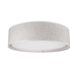 White 16-Inch One-Light LED Flush Mount with Textured Beige Shade