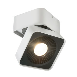 Nickel Five-Inch One-Light LED Square Directional Flush Mount