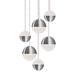 Nickel Six-Light LED Pendant