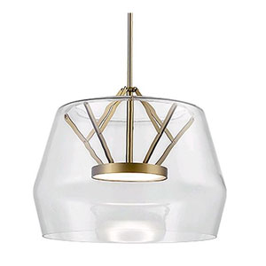 Deco Clear and Brass 17-Inch One-Light LED Pendant