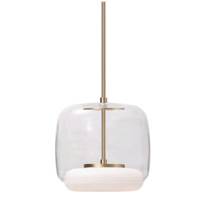 Enkel Clear and Brass 10-Inch One-Light LED Pendant