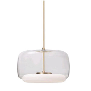 Enkel Clear and Brass 15-Inch One-Light LED Pendant