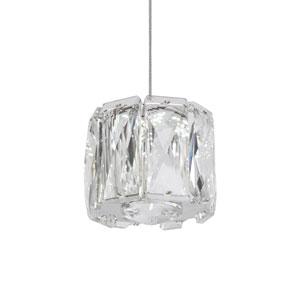 Chrome Three-Inch One-Light LED Mini-Pendant with Diamond Cut Clear Crystals