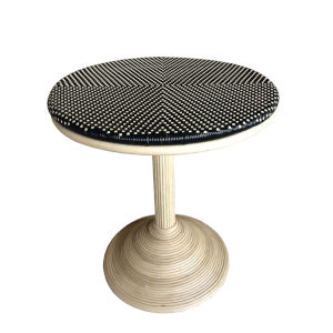 French Bistro Black and White Rattan Dining Table