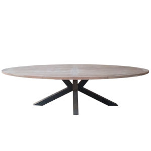 Natural and Iron 111-Inch Outdoor Dining Table