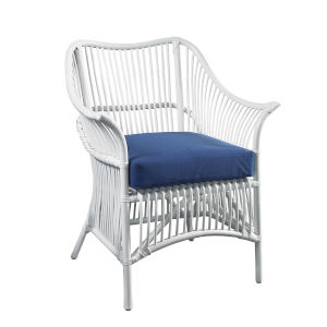 Palm White Rattan Occasional Chair