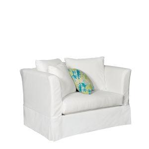 Sunset Beach Canvas White Chair and A Half