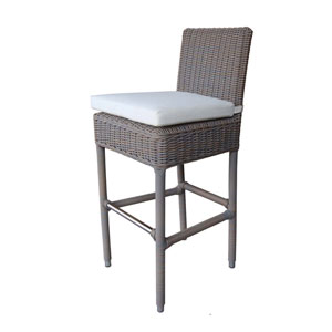 Outdoor Boca Barstool with White Outdoor Cushion