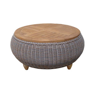 Outdoor Paradise Ottoman with Wood Top