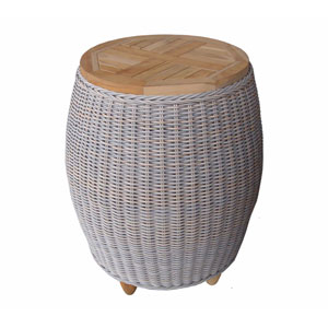 Outdoor Paradise End Table with Teak Top