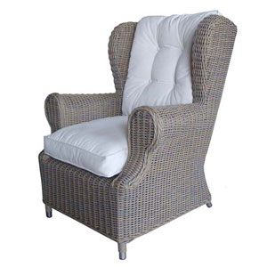 Outdoor Kubu Wing Chair with White Outdoor Cushion