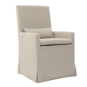 Sandspur Beach Brushed Linen Arm Dining Chair