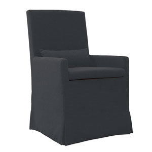 Sandspur Beach Charcoal Grey Arm Dining Chair with Casters