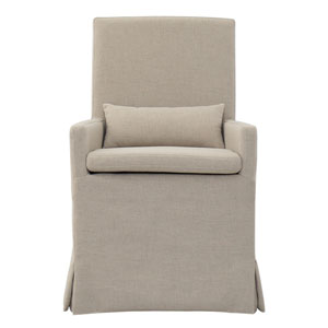 Sandspur Beach Brushed Linen Arm Dining Chair with Casters