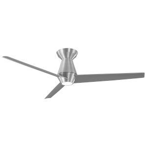 Slim Brushed Aluminum 52-Inch ADA LED Flush Mount Ceiling Fan, 3500K
