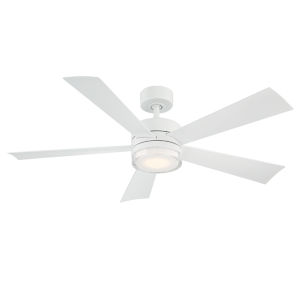 Wynd Matte White 52-Inch 3000K LED Downrod Ceiling Fans