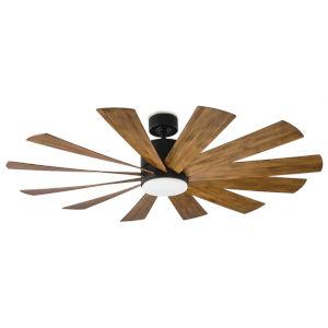 Windflower Matte Black 60-Inch 3000K LED Downrod Ceiling Fans