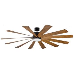 Windflower Matte Black 80-Inch 3000K LED Downrod Ceiling Fans