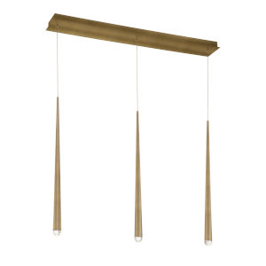 Cascade Aged Brass Three-Light LED Mini Pendant