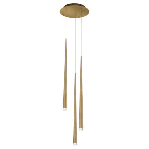 Cascade Aged Brass 28-Inch Three-Light LED Pendant