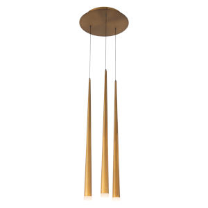 Cascade Aged Brass 12-Inch Three-Light LED Pendant