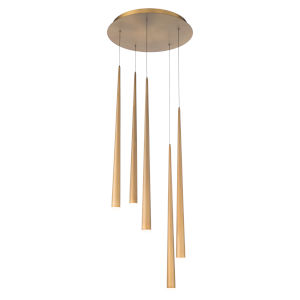 Cascade Aged Brass 17-Inch Five-Light LED Pendant
