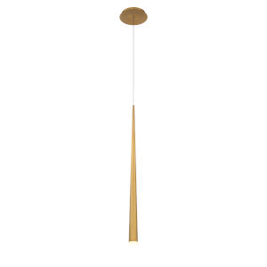 Cascade Aged Brass 28-Inch LED Mini Pendant with Etched Glass