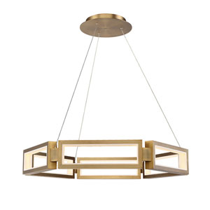 Mies Aged Brass 35-Inch LED Chandelier