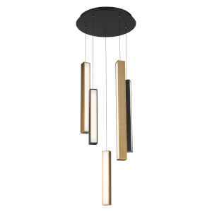 Chaos Black and Aged Brass Five-Light LED Pendant with Black Canopy