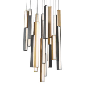 Chaos Black and Aged Brass 21-Light LED Pendant with Black Canopy