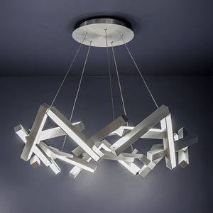 Chaos Brushed Aluminum 34-Inch LED Chandelier