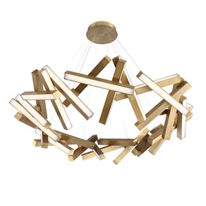 Chaos Aged Brass 61-Inch LED Chandelier