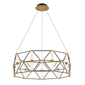 Labyrinth Black Aged Brass Nine-Light  Pendant