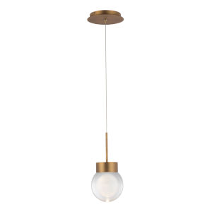 Double Bubble Aged Brass LED Mini Pendant
