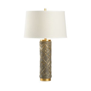 Off White and Gray One-Light 5-Inch Kuba Lamp