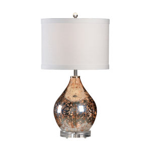 Off White and Brown One-Light 11-Inch Edistow Lamp