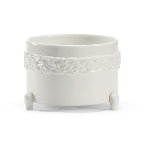 White 9-Inch Laurel Cachepot