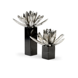 Black and White 11-Inch Water Lilies, Set of 2