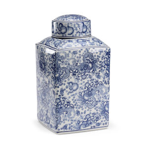 White and Blue 8-Inch Paisley Canister