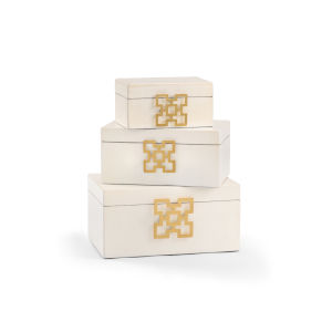 White 14-Inch Hampton Boxes, Set of 3