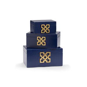 Blue 14-Inch Hampton Boxes, Set of 3