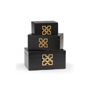 Black and Gold 14-Inch Hampton Boxes, Set of 3