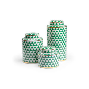 Green and White 8-Inch Triad Canisters, Set of 3