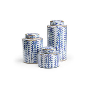 Blue 8-Inch Fronds Canisters, Set of 3