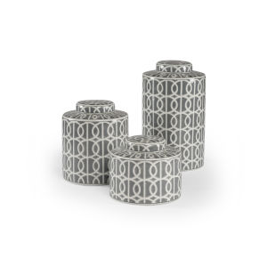 White and Black 8-Inch Dakota Canisters, Set of 3