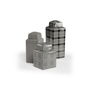 White and Black 6-Inch Radcliff Canisters, Set of 3
